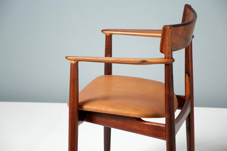 Henry Rosengren Hansen Rosewood and Leather Armchair, 1960 For Sale 4