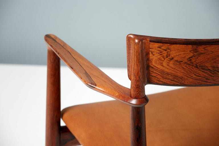 Henry Rosengren Hansen Rosewood and Leather Armchair, 1960 For Sale 5