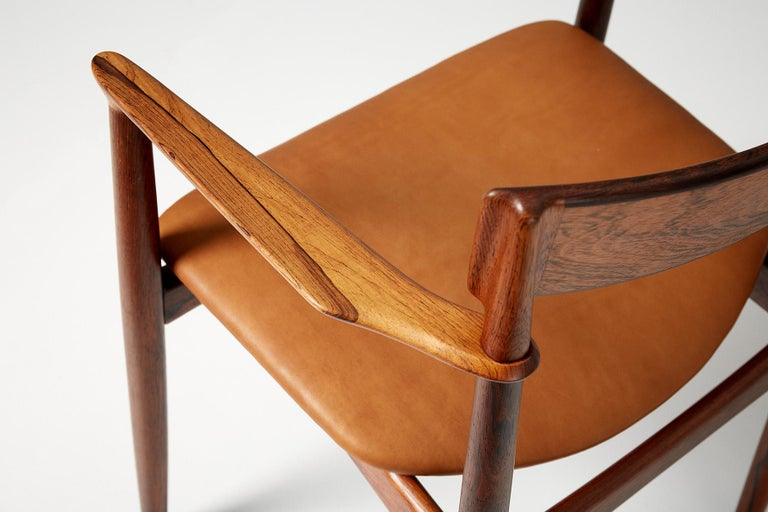 Henry Rosengren Hansen Rosewood and Leather Armchair, 1960 For Sale 7