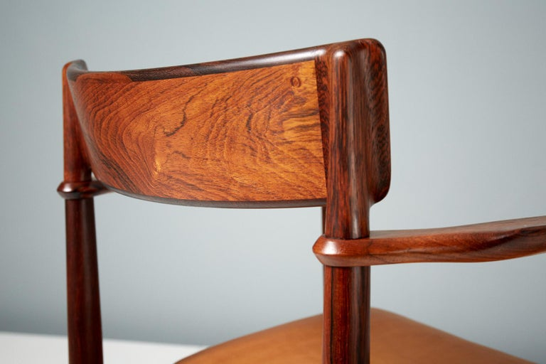 Henry Rosengren Hansen Rosewood and Leather Armchair, 1960 For Sale 8