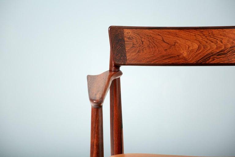 Scandinavian Modern Henry Rosengren Hansen Rosewood and Leather Armchair, 1960 For Sale