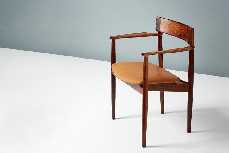 Danish Henry Rosengren Hansen Rosewood and Leather Armchair, 1960 For Sale