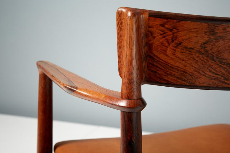 Mid-20th Century Henry Rosengren Hansen Rosewood and Leather Armchair, 1960 For Sale
