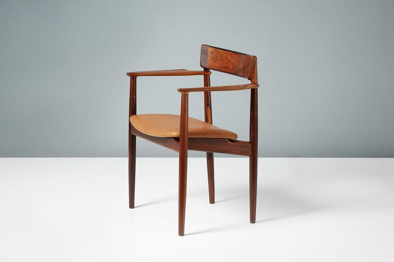 Henry Rosengren Hansen Rosewood and Leather Armchair, 1960 For Sale 1