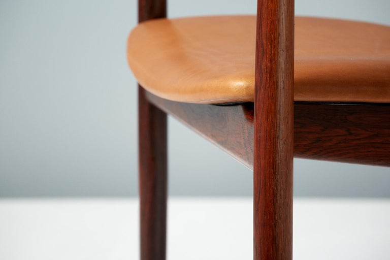 Henry Rosengren Hansen Rosewood and Leather Armchair, 1960 For Sale 2