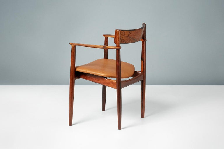 Henry Rosengren Hansen Rosewood and Leather Armchair, 1960 For Sale 3