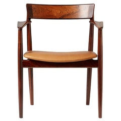 Henry Rosengren Hansen Rosewood and Leather Armchair, 1960