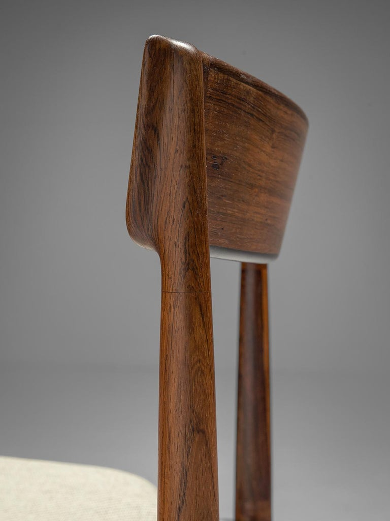 Fabric Henry Rosengren Hansen Rosewood Dining Chairs '39' For Sale