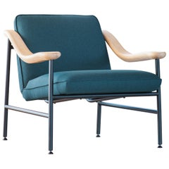 Henry Russell Blue Grey Lounge Chair Stainless Steel Frame Oak Armrests