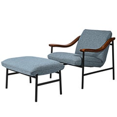 Henry Russell Blue Grey Ottoman Stainless Steel Frame