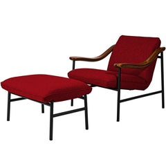 Henry Russell Red Ottoman Stainless Steel Frame