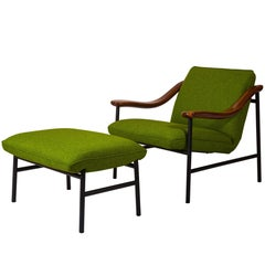 Henry Russell Yellow Green Ottoman Stainless Steel Frame