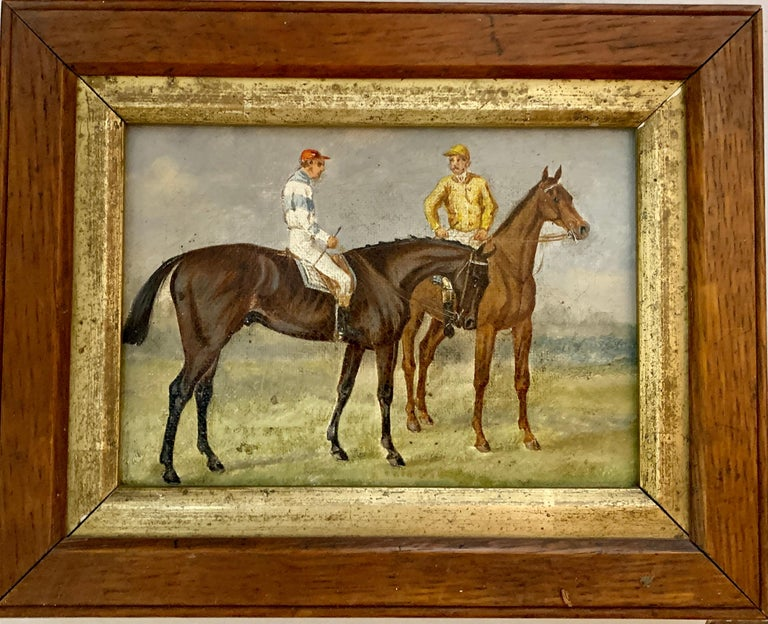 19th century English Horse racing scene with jockeys on horse back in landscape - Painting by 19th century English school