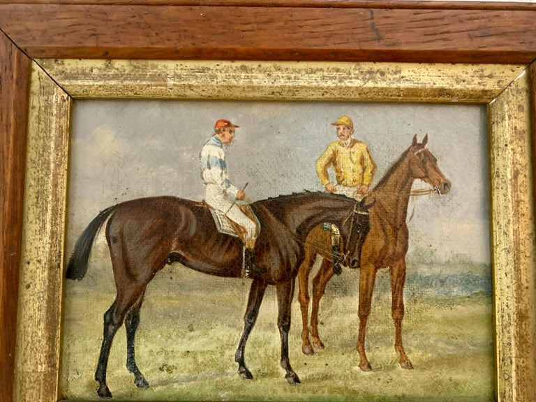 19th century English Horse racing scene with jockeys on horse back in landscape - Victorian Painting by 19th century English school