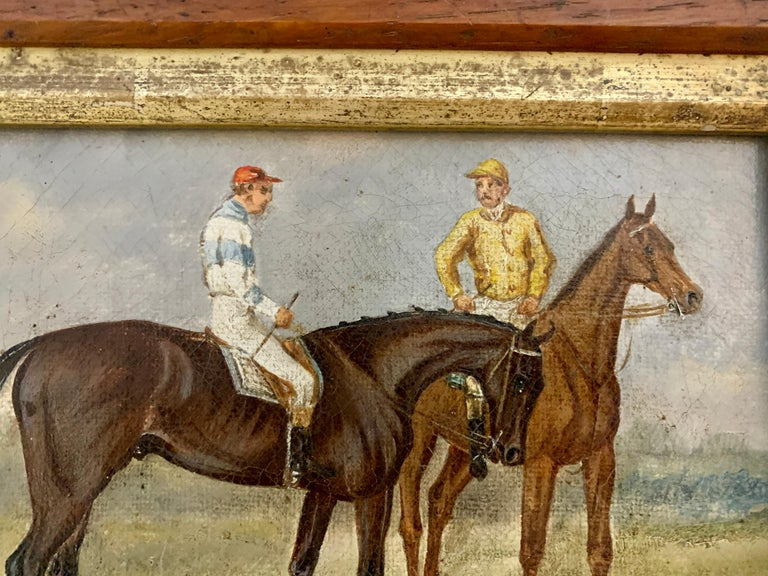 19th century English Horse racing scene with jockeys on horse back in landscape - Brown Animal Painting by 19th century English school