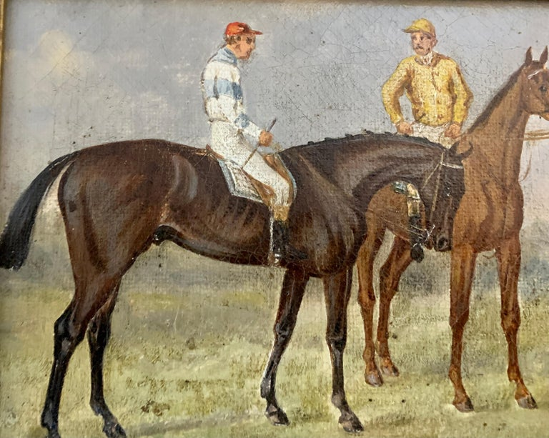 19th century English Horse racing scene with jockeys on horseback in a landscape.  The painting is inscribed along the inside canvas as to the owners of the horses and in this case, it's the Duke of Beaufort and the Marquis of Hastings.  The