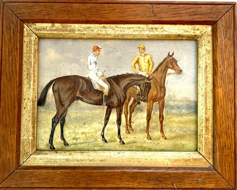 19th century English school Animal Painting - 19th century English Horse racing scene with jockeys on horse back in landscape