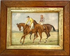 19th century English Horse racing scene with jockeys on horse back in landscape