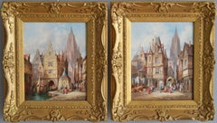19th Century pair of French townscape oil paintings