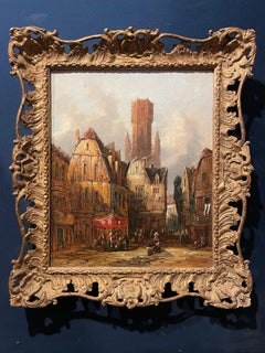 Fine 19th Century Victorian Oil Painting Bruges City Centre Bustling Scene