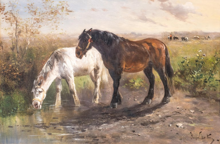 A late 19th century oil painting by Belgian artist Henry Schouten (1864-1927). The scene depicts two work horses in the wilderness. One of the horses is drinking water from a paddle in the foreground.  In the background civilization is evident: A