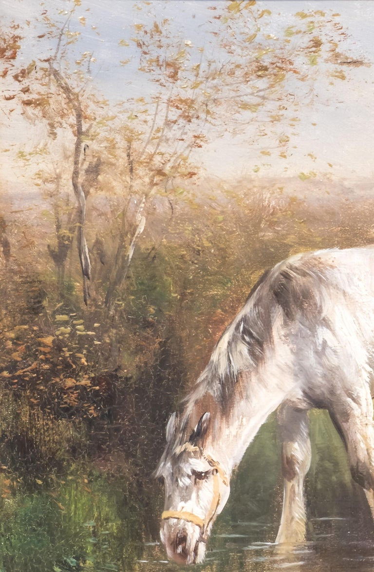 Classical Roman Henry Schoute, Horses in a Field, Late 19th Century, Oil on Canvas For Sale