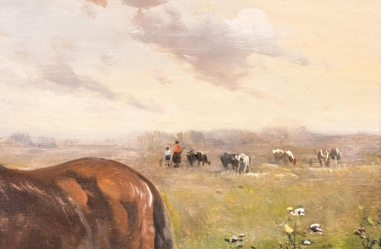 Henry Schoute, Horses in a Field, Late 19th Century, Oil on Canvas In Good Condition For Sale In Lantau, HK