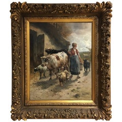 Henry Schouten, Antique Dutch Painting, Cows and Sheep, 1882,  141 x 120 cm