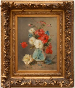 """Still Life of Flowers in a Pale Blue Vase"" by Henry Schouten (1864-1927)"
