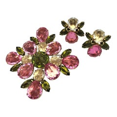 Henry Schreiner NY pink and green colored  brooch with matching ear clips 1960s
