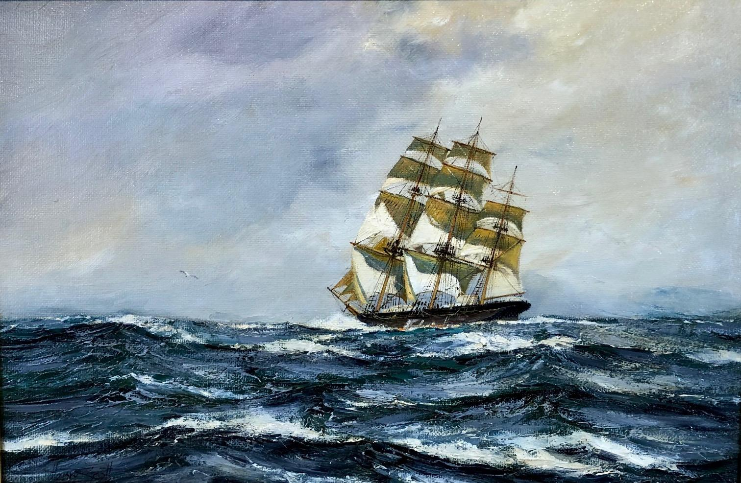 Outward Bound, The Clipper Ship Lightening, Seascape Oil Painting by Henry Scott