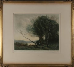 Henry Scott Bridgwater after J. B. Corot - Early 20thC Mezzotint, River Foraging