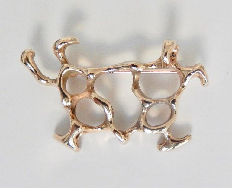 Henry Steig Mid-Century Moderne 14 Karat Gold Brosche 3