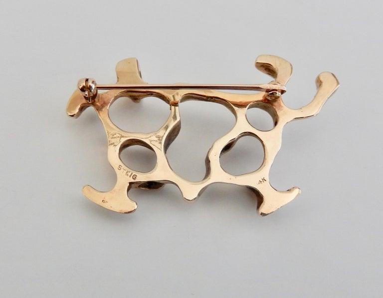 Henry Steig Mid-Century Moderne 14 Karat Gold Brosche 5