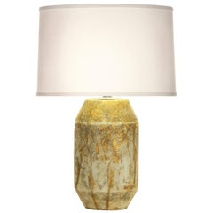 Henry Table Lamp in Gold and Cream Ceramic by CuratedKravet