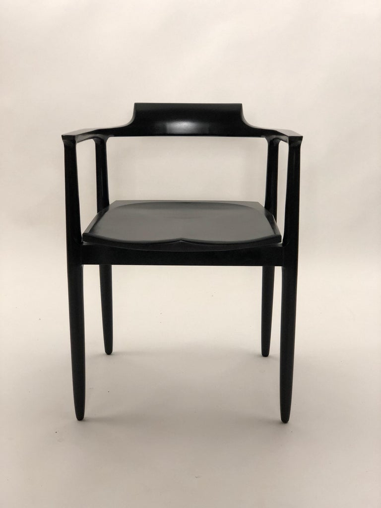 Henry the Armchair in Black Lacquer In New Condition In Princeton, NJ