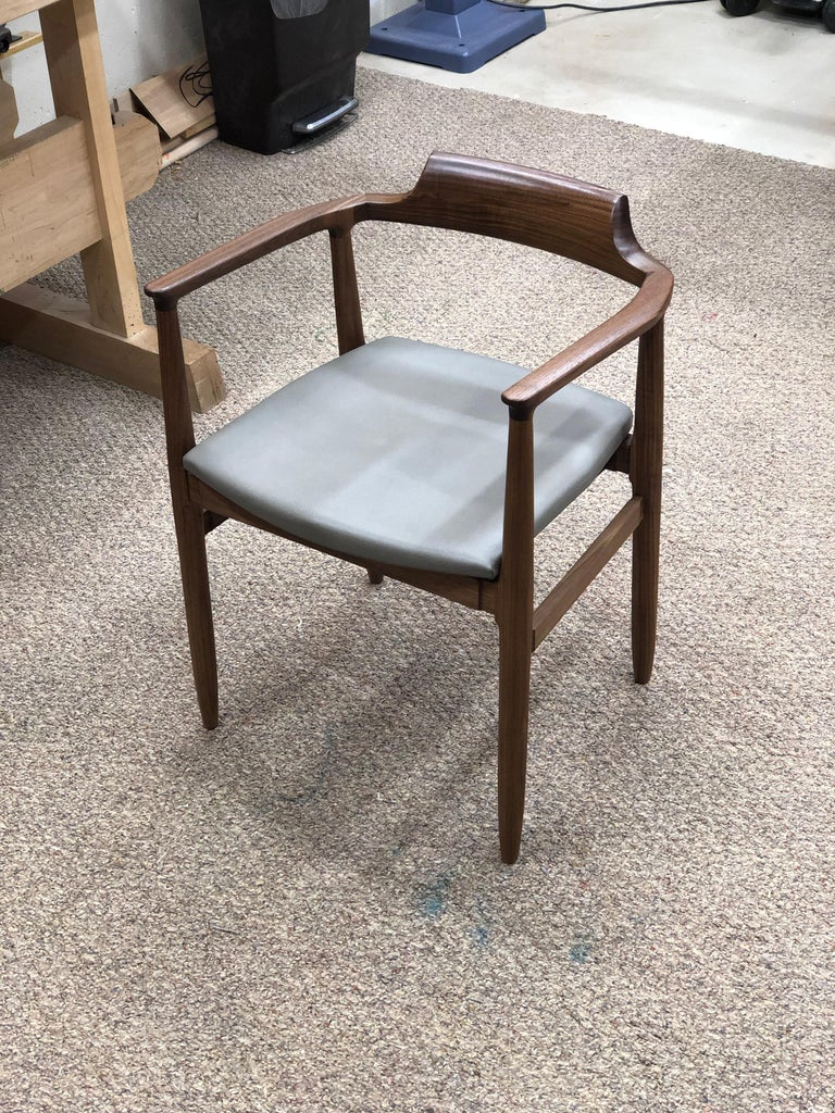 American 'Henry the Armchair' in Walnut with Leather Upholstery by Brian Holcombe For Sale