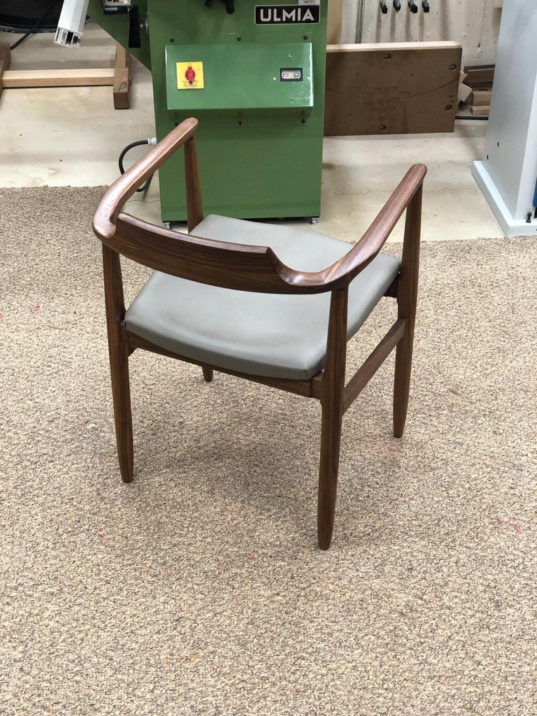 Oiled 'Henry the Armchair' in Walnut with Leather Upholstery by Brian Holcombe For Sale