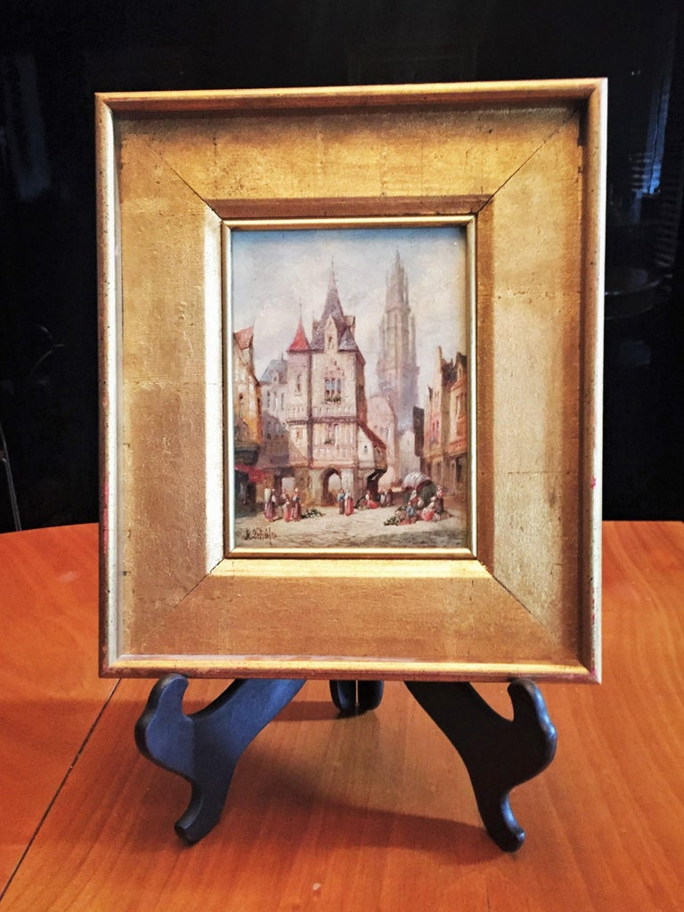 Signed: 'H. Schafer', lower left. Media: Oil painting on canvas. Dimensions (unframed): 7-7/8 X 6-1/6 inches;  Dimensions (framed): 13-1/2 X 11-1/2 inches. Condition: Fine, natural aging of canvas, stretcher and frame.   This pair of antique,