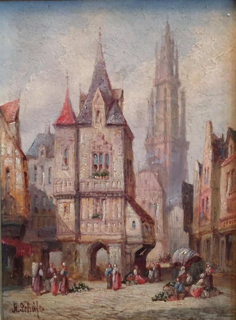 Romantic Henry Thomas Schäfer, a Pair of Oil on Canvas Architectural Paintings circa 1880 For Sale