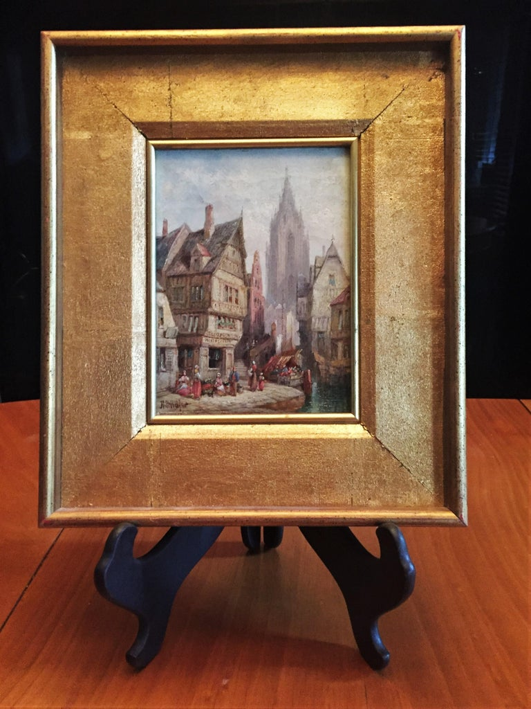 Late 19th Century Henry Thomas Schäfer, a Pair of Oil on Canvas Architectural Paintings circa 1880 For Sale