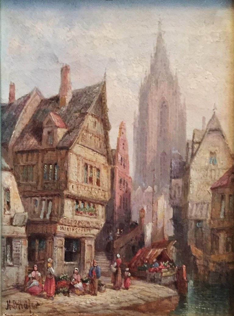 Henry Thomas Schäfer, a Pair of Oil on Canvas Architectural Paintings circa 1880 For Sale 1