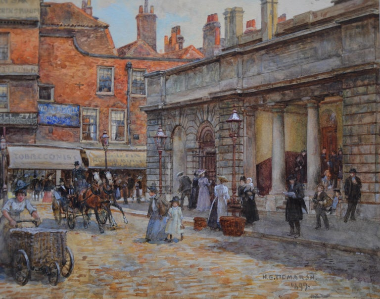 'St Bartholomew's, Smithfield 1899' by Henry Edward Tidmarsh (1855-1939).  This work has just been professionally conserved with acid-free mount, re-glazed behind Museum Glass and re-hung in a superb quality bespoke gold metal leaf frame. Clients