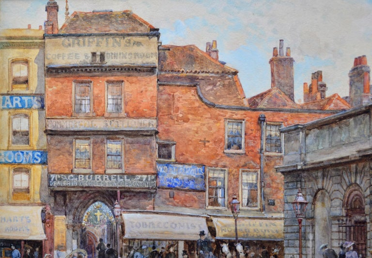 St Bartholomew's Smithfield 1899 - 19th Century Watercolour of Victorian London  1