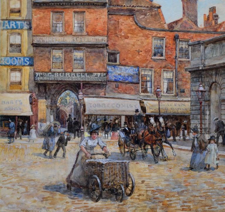 St Bartholomew's Smithfield 1899 - 19th Century Watercolour of Victorian London  2