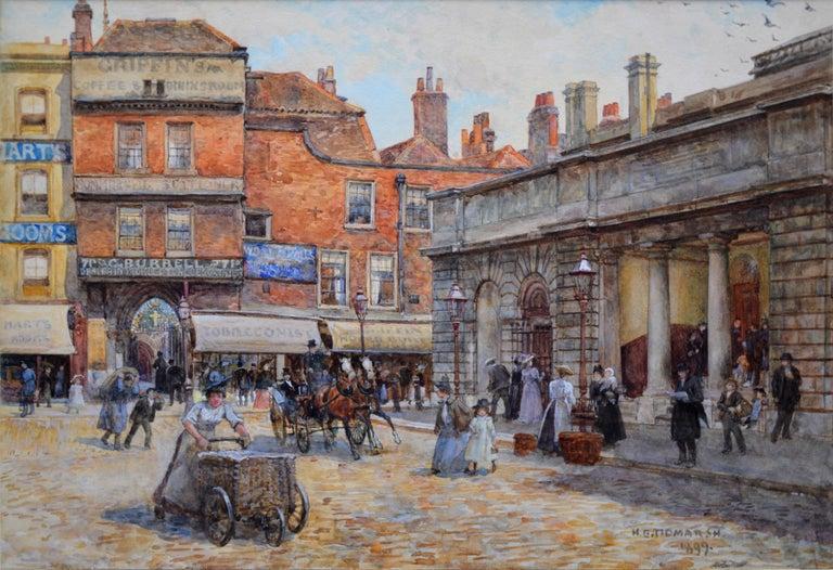 Henry Tidmarsh Landscape Art - St Bartholomew's Smithfield 1899 - 19th Century Watercolour of Victorian London