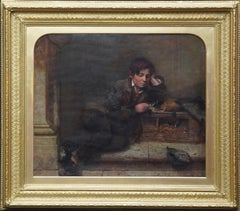 Boy with Guinea Pig - British Victorian animal art male portrait oil painting