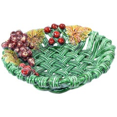 Henry Vallauris France Ceramic Harvest Basket Green and Red Mid-Century Modern