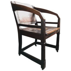 Henry van de Velde Style of an Arts & Crafts Oak Armchair Original Leather