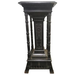 Henry W Batley Aesthetic Movement Ebonised Pedestal Stand with Carved Sunflowers